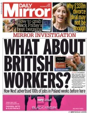 Daily Mirror (UK) Newspaper Front Page for 28 November 2014