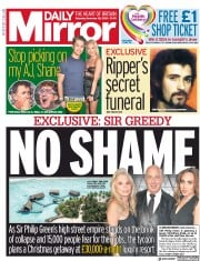 Daily Mirror front page for 28 November 2020