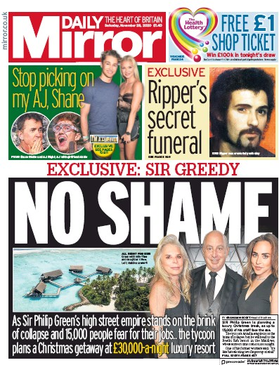 Daily Mirror Newspaper Front Page (UK) for 28 November 2020