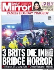 Daily Mirror (UK) Newspaper Front Page for 28 December 2018