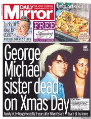 Daily Mirror () Newspaper Front Page for 28 December 2019