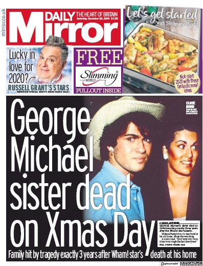 Daily Mirror Newspaper Front Page (UK) for 28 December 2019