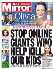 Daily Mirror (UK) Newspaper Front Page for 28 January 2019
