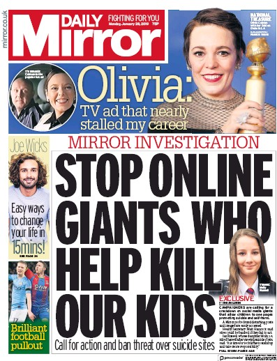 Daily Mirror Newspaper Front Page (UK) for 28 January 2019