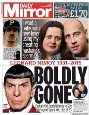 Daily Mirror (UK) Newspaper Front Page for 28 February 2015