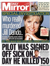 Daily Mirror (UK) Newspaper Front Page for 28 March 2015