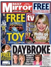 Daily Mirror Newspaper Front Page (UK) for 28 April 2012