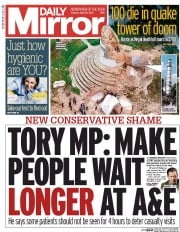Daily Mirror (UK) Newspaper Front Page for 28 April 2015