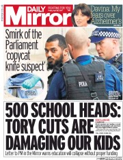 Daily Mirror (UK) Newspaper Front Page for 28 April 2017