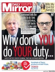 Daily Mirror front page for 28 May 2020