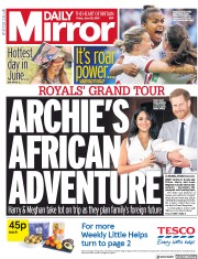 Daily Mirror (UK) Newspaper Front Page for 28 June 2019