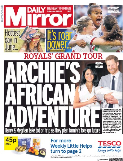 Daily Mirror Newspaper Front Page (UK) for 28 June 2019