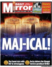 Daily Mirror Newspaper Front Page (UK) for 28 July 2012