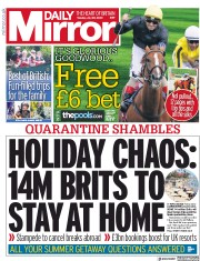 Daily Mirror front page for 28 July 2020