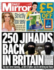 Daily Mirror (UK) Newspaper Front Page for 28 August 2014