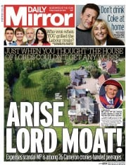 Daily Mirror (UK) Newspaper Front Page for 28 August 2015