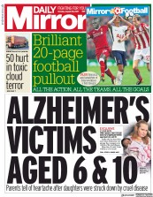 Daily Mirror (UK) Newspaper Front Page for 28 August 2017