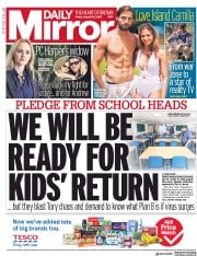 Daily Mirror (UK) Newspaper Front Page for 28 August 2020