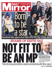 Daily Mirror (UK) Newspaper Front Page for 29 October 2019