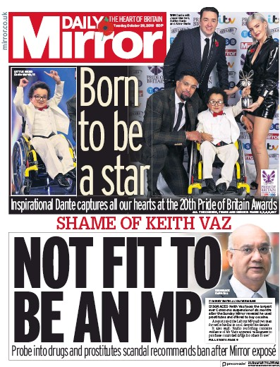 Daily Mirror Newspaper Front Page (UK) for 29 October 2019