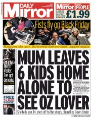 Daily Mirror (UK) Newspaper Front Page for 29 November 2014