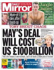 Daily Mirror (UK) Newspaper Front Page for 29 November 2018