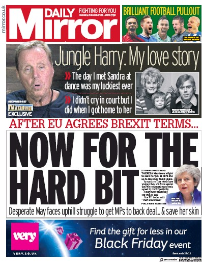 Daily Mirror Newspaper Front Page (UK) for 29 November 2018