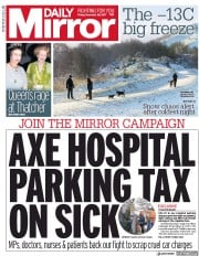 Daily Mirror (UK) Newspaper Front Page for 29 December 2017