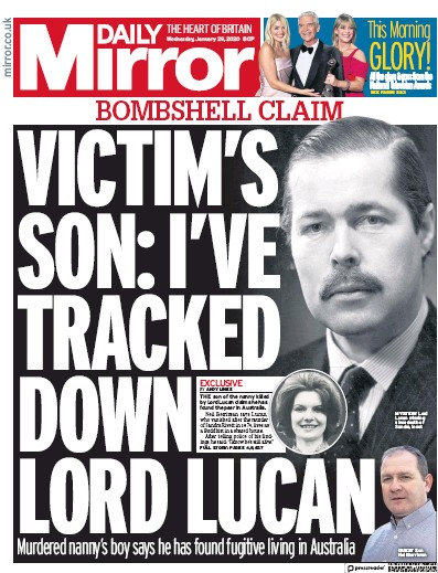 Daily Mirror Newspaper Front Page (UK) for 29 January 2020