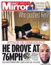 Daily Mirror (UK) Newspaper Front Page for 29 March 2017