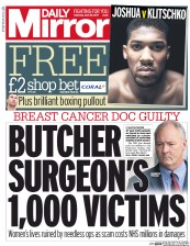 Daily Mirror (UK) Newspaper Front Page for 29 April 2017