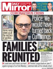 Daily Mirror front page for 29 May 2020