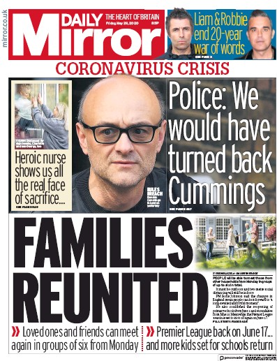 Daily Mirror Newspaper Front Page (UK) for 29 May 2020