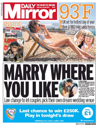 Daily Mirror Newspaper Front Page (UK) for 29 June 2019