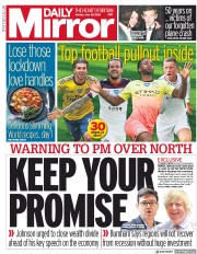 Daily Mirror front page for 29 June 2020