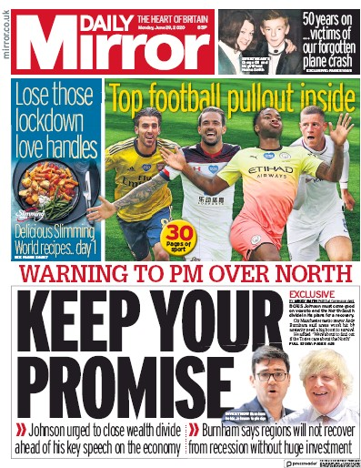 Daily Mirror Newspaper Front Page (UK) for 29 June 2020