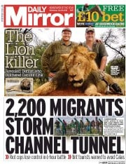Daily Mirror (UK) Newspaper Front Page for 29 July 2015