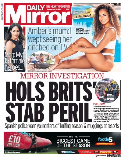 Daily Mirror Newspaper Front Page (UK) for 29 July 2019