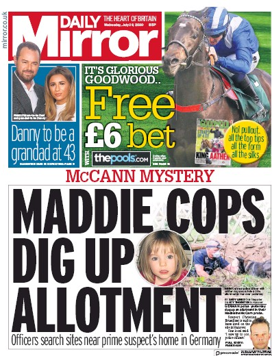 Daily Mirror Newspaper Front Page (UK) for 29 July 2020