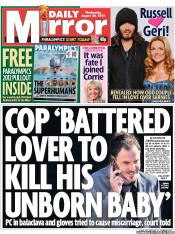 Daily Mirror Newspaper Front Page (UK) for 29 August 2012