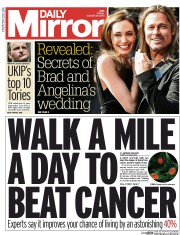 Daily Mirror (UK) Newspaper Front Page for 29 August 2014