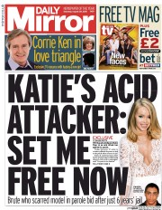 Daily Mirror (UK) Newspaper Front Page for 29 August 2015