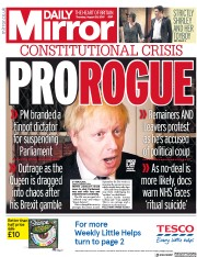 Daily Mirror () Newspaper Front Page for 29 August 2019