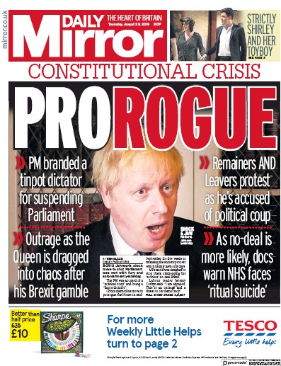 Daily Mirror Newspaper Front Page (UK) for 29 August 2019