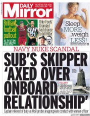 Daily Mirror (UK) Newspaper Front Page for 2 October 2017