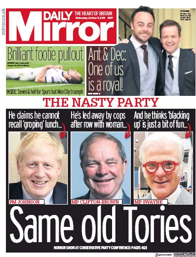 Daily Mirror Newspaper Front Page (UK) for 2 October 2019