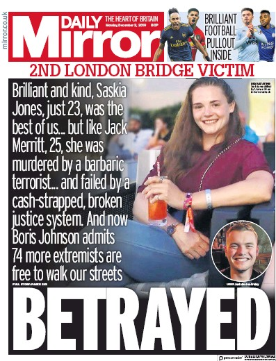 Daily Mirror Newspaper Front Page (UK) for 2 December 2019
