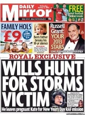 Daily Mirror Newspaper Front Page (UK) for 2 January 2013