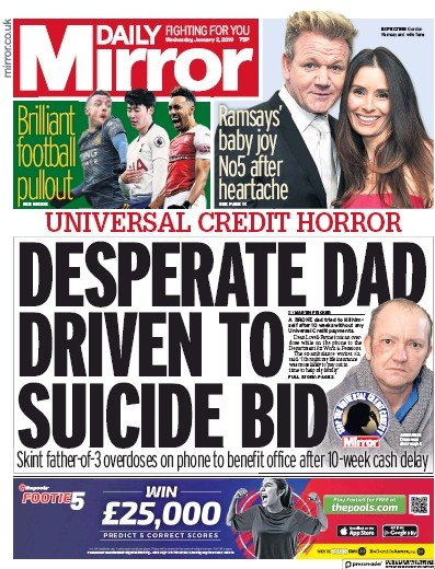 Daily Mirror Newspaper Front Page (UK) for 2 January 2019