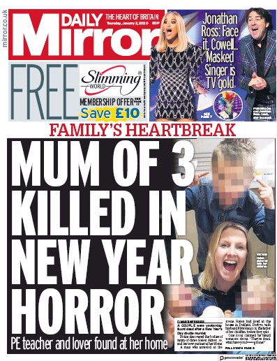 Daily Mirror Newspaper Front Page (UK) for 2 January 2020